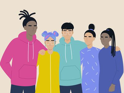 Cartoon of a racially diverse group of young people