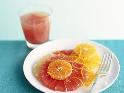 Sliced citrus fruit with caramelised orange zest
