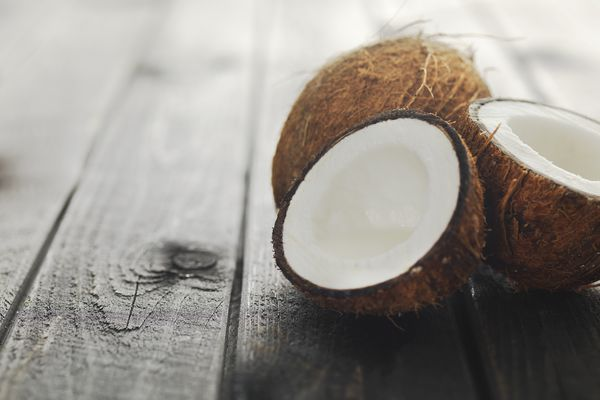 a coconut cut in half