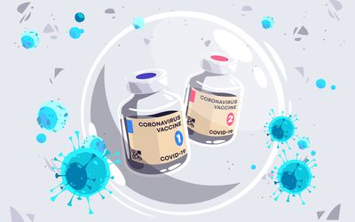 Illustration of two COVID vaccine vials in a bubble surrounded by COVID virus particles.
