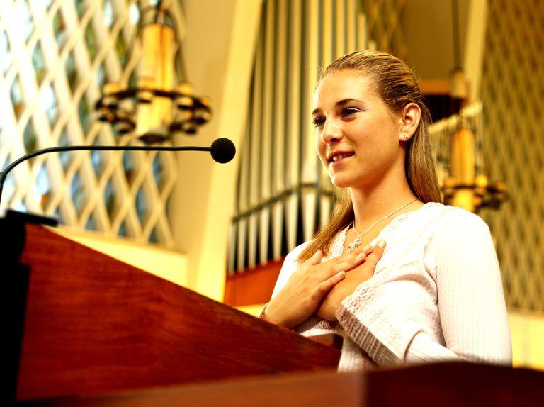 Girl at church lectern