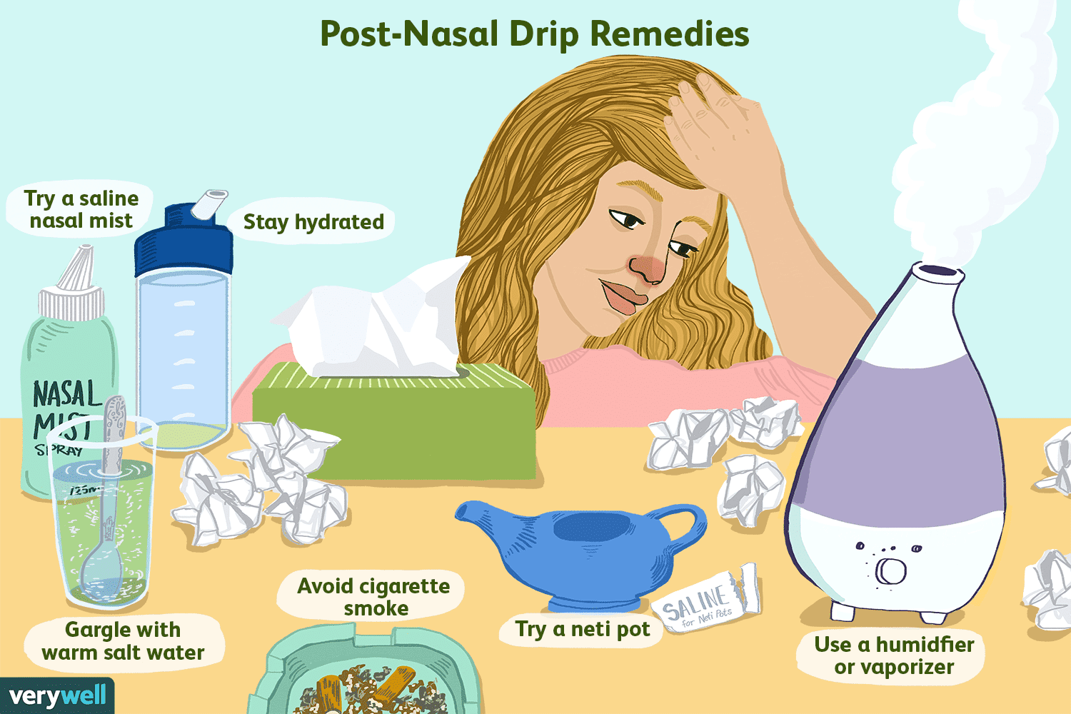 Illustration of woman with a reddened nose resting her head on her hand. Text on image reads: Post-Nasal Drip Remedies: Try a saline nasal mist; stay hydrated; gargle with warm salt water; avoid cigarette smoke; try a neti pot; use a humidifier or vaporizer