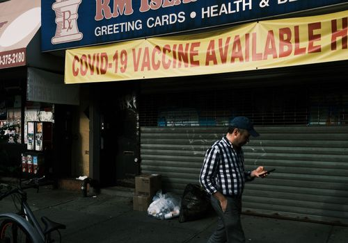 A pharmacy advertises the Covid-19 vaccine