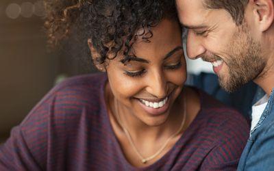 Romantic multiethnic couple in love