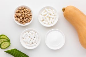 Cucumber, squash, chickpeas, capsules, and tablets
