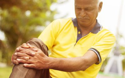 Man with pain from knee osteoarthritis