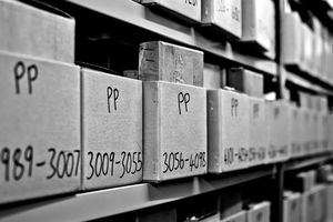 Cremains ins boxes on shelves