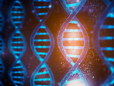 Glowing and shining DNA strands double helix close-up