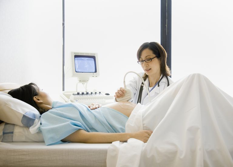 A woman during an ultrasound check up