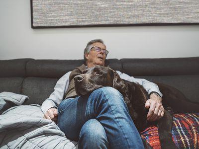 Senior man asleep on couch