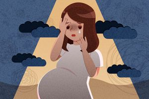 An illustration of a brown-haired pregnant woman crying; there are dark blue clouds in the background.