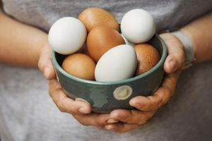 A person holding a bowl full of eggs
