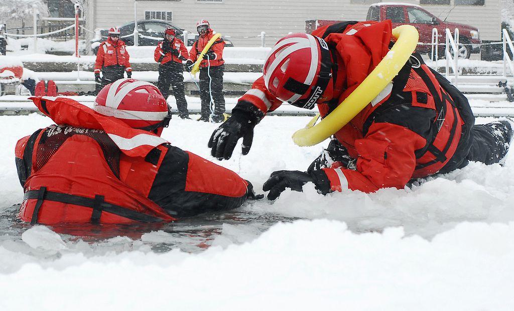 Coast guard ice rescue training