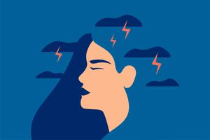 illustration of tension, anxiety, depicted by lightning bolts around woman's head