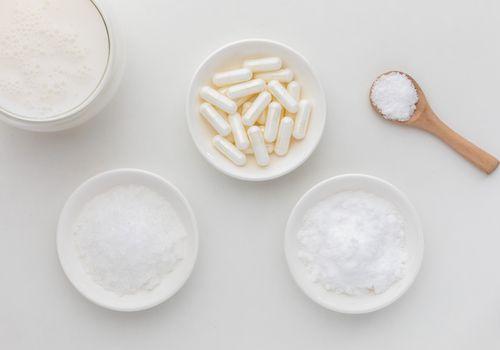 MSM capsules, crystals, powder, and milk