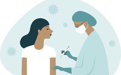 COVID vaccination illustration.