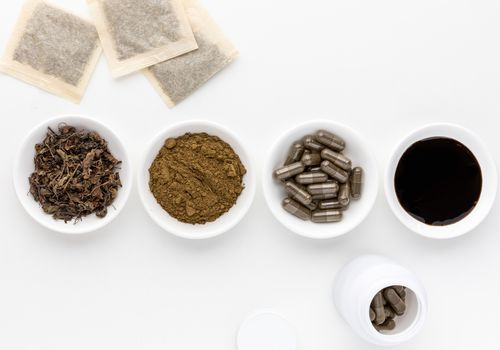 Tulsi tea bags, tea leaf, powder, capsules, and tincture