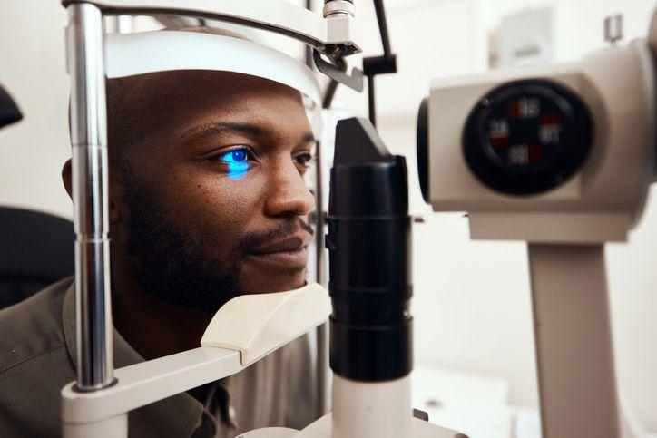 Man getting eye exam