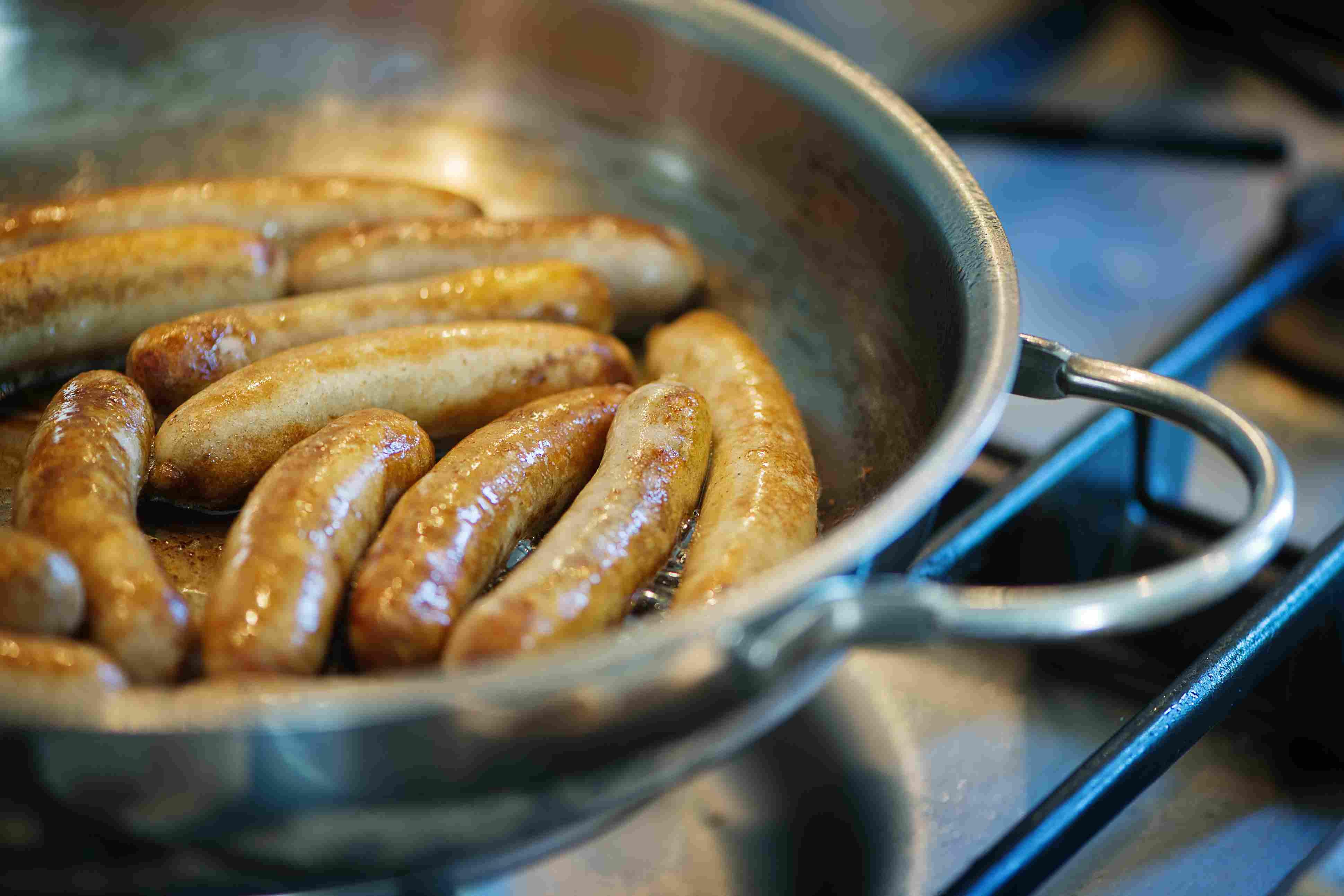 German bratwurst in pan