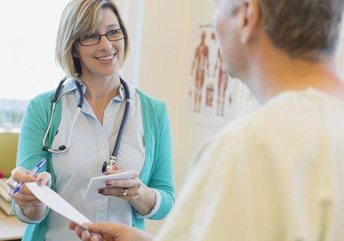 Doctor explaining perscription to patient