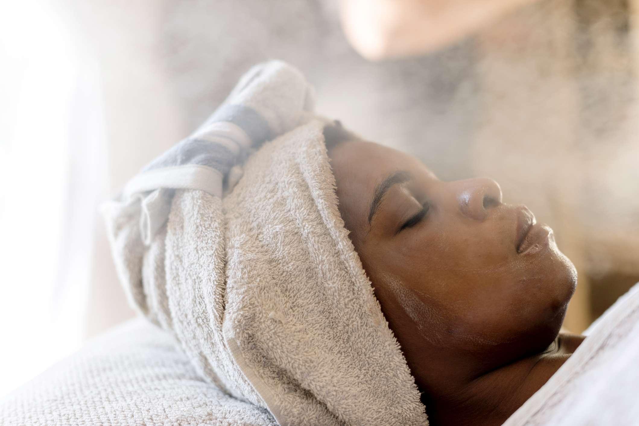 Woman receiving steam treatment