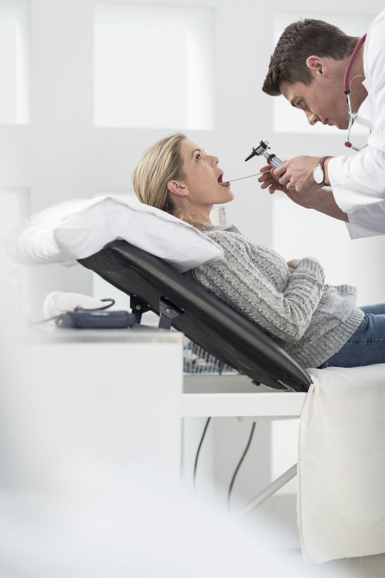 Woman at her ENT appointment.