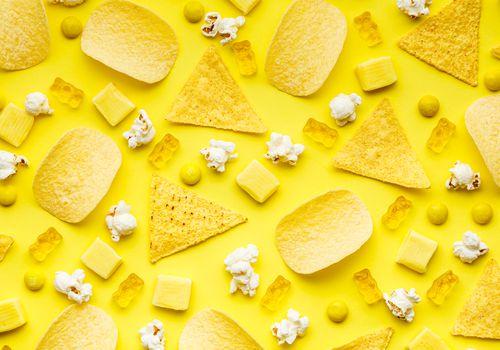 Popcorn, chips, doritos, starburst, m&ms, sourpatch gummies