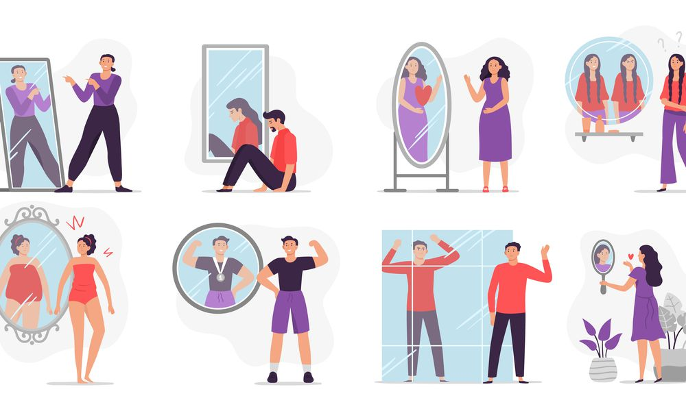 People looking at mirror reflection. Self-assessment and personal appearance vector illustration