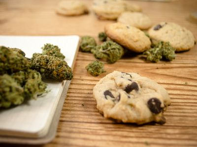 Cookies and marijuana on a table