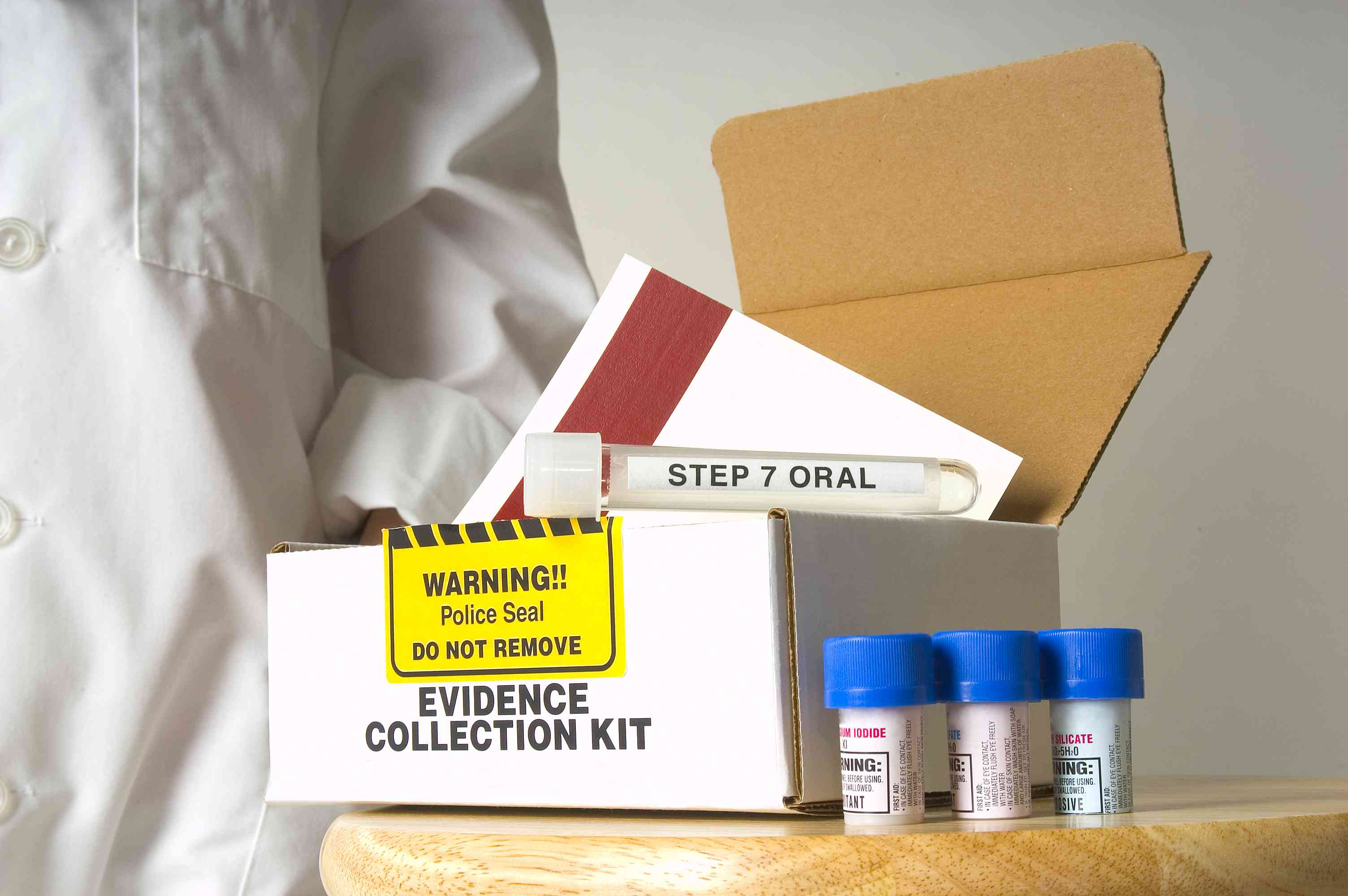 Rape kit and lab worker