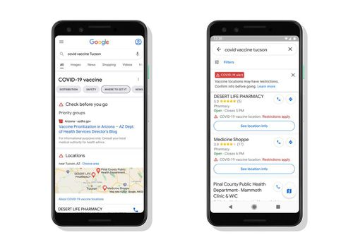 Google maps vaccine finder.