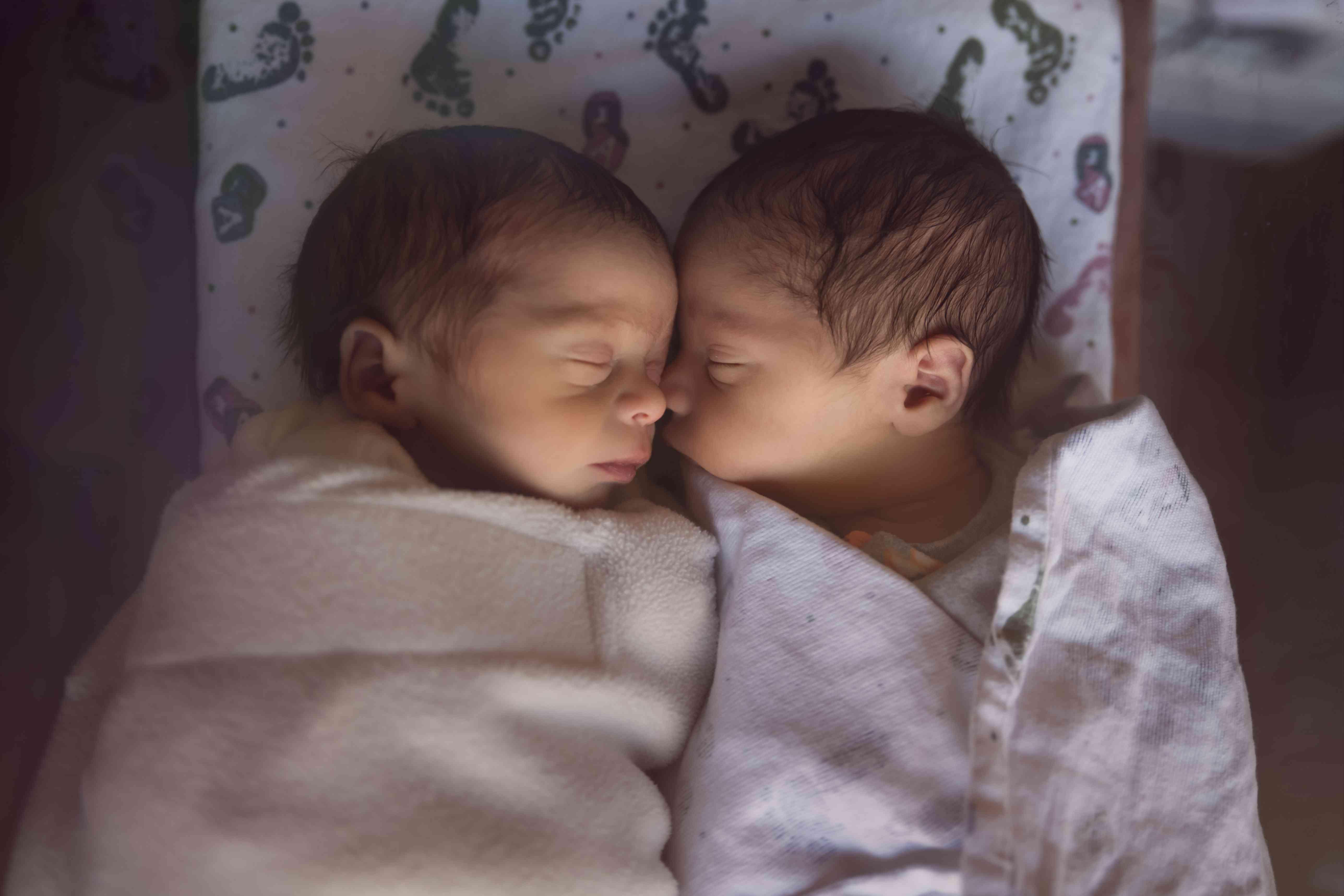 newborn fraternal twins in hospital sleep together
