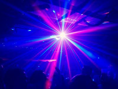 Bright flashing lights of a night club