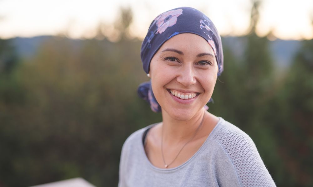 woman wearing head scarf after chemo